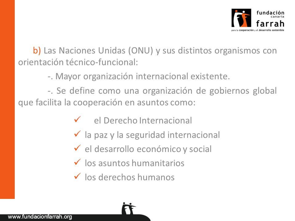 www.fundacionfarrah.org b) Las Naciones Unidas (ONU) y sus distintos organismos con orientación técnico-funcional: -. Mayor organización internacional