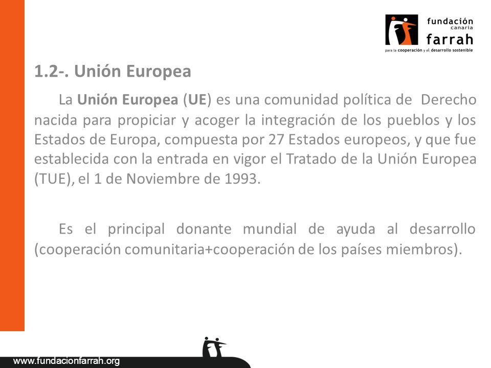 www.fundacionfarrah.org 1.2-. Unión Europea La Unión Europea (UE) es una comunidad política de Derecho nacida para propiciar y acoger la integración d