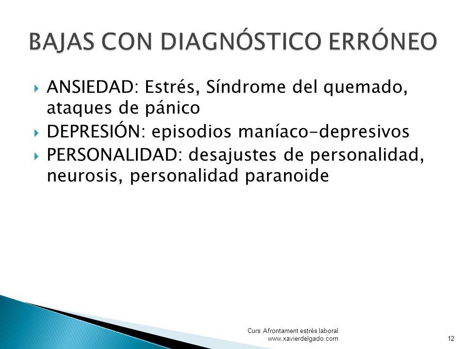 ANSIEDAD: Estrés, Síndrome del quemado, ataques de pánico DEPRESIÓN: episodios maníaco-depresivos PERSONALIDAD: desajustes de personalidad, neurosis,