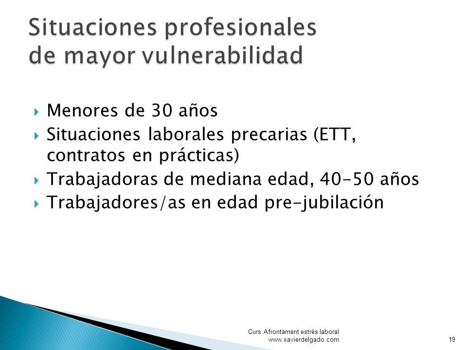 Menores de 30 años Situaciones laborales precarias (ETT, contratos en prácticas) Trabajadoras de mediana edad, 40-50 años Trabajadores/as en edad pre-