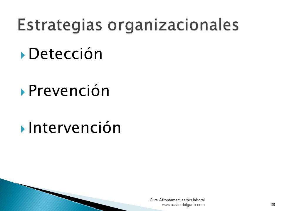 Detección Prevención Intervención Curs Afrontament estrès laboral www.xavierdelgado.com38