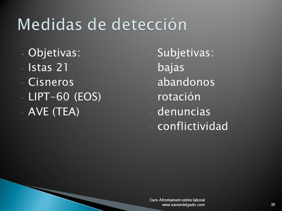 Objetivas: - Istas 21 - Cisneros - LIPT-60 (EOS) - AVE (TEA) Subjetivas: - bajas - abandonos - rotación - denuncias - conflictividad Curs Afrontament