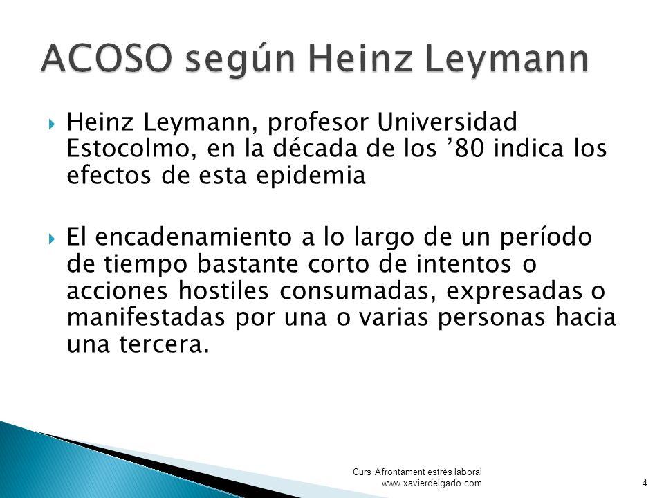 Heinz Leymann, profesor Universidad Estocolmo, en la década de los 80 indica los efectos de esta epidemia El encadenamiento a lo largo de un período d