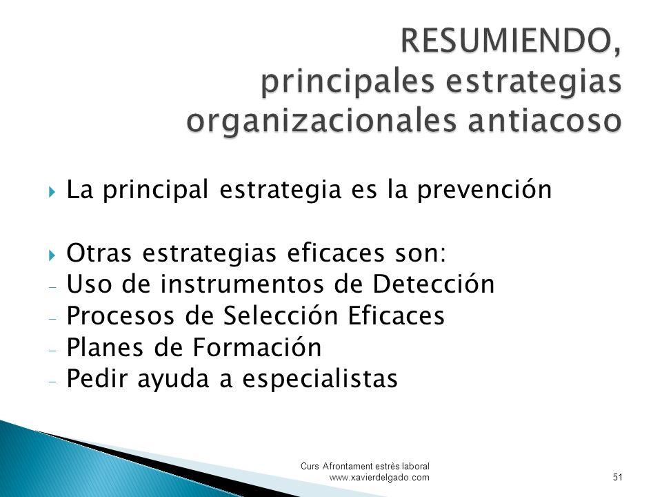 La principal estrategia es la prevención Otras estrategias eficaces son: - Uso de instrumentos de Detección - Procesos de Selección Eficaces - Planes