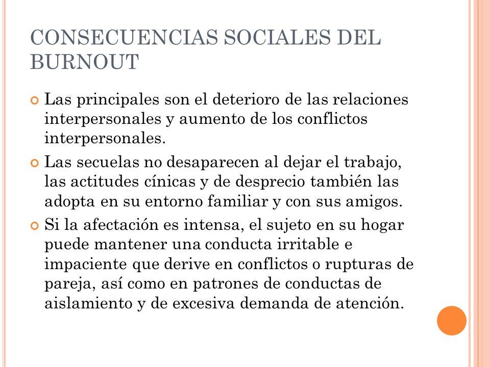 CONSECUENCIAS SOCIALES DEL BURNOUT Las principales son el deterioro de las relaciones interpersonales y aumento de los conflictos interpersonales. Las