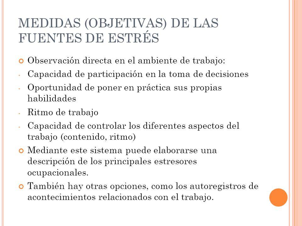 MEDIDAS (OBJETIVAS) DE LAS FUENTES DE ESTRÉS Observación directa en el ambiente de trabajo: - Capacidad de participación en la toma de decisiones - Op