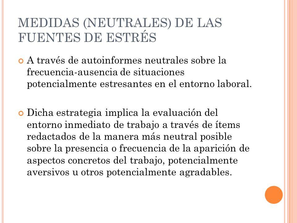 MEDIDAS (NEUTRALES) DE LAS FUENTES DE ESTRÉS A través de autoinformes neutrales sobre la frecuencia-ausencia de situaciones potencialmente estresantes