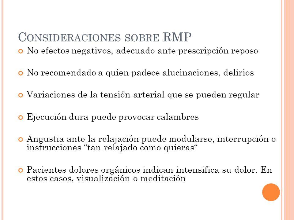 C ONSIDERACIONES SOBRE RMP No efectos negativos, adecuado ante prescripción reposo No recomendado a quien padece alucinaciones, delirios Variaciones d