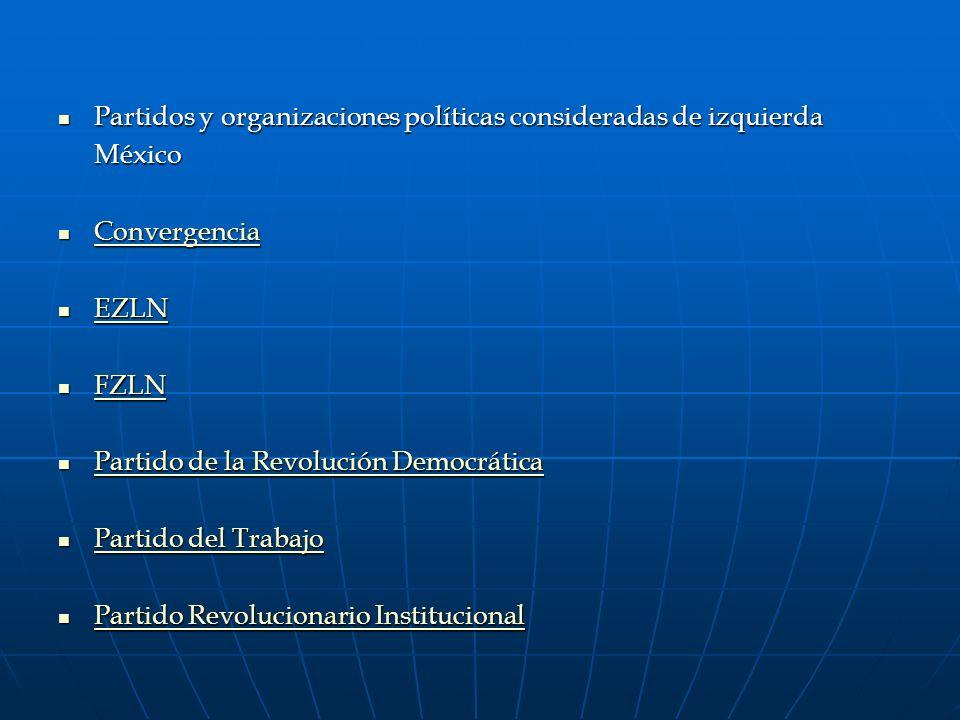 Partidos y organizaciones políticas consideradas de izquierda Partidos y organizaciones políticas consideradas de izquierdaMéxico Convergencia Converg