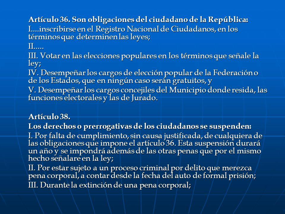 Artículo 36. Son obligaciones del ciudadano de la República: I....inscribirse en el Registro Nacional de Ciudadanos, en los términos que determinen la