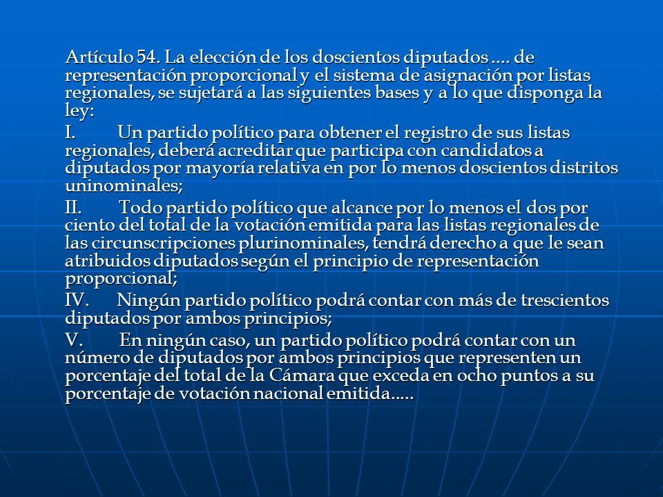 Artículo 54. La elección de los doscientos diputados.... de representación proporcional y el sistema de asignación por listas regionales, se sujetará