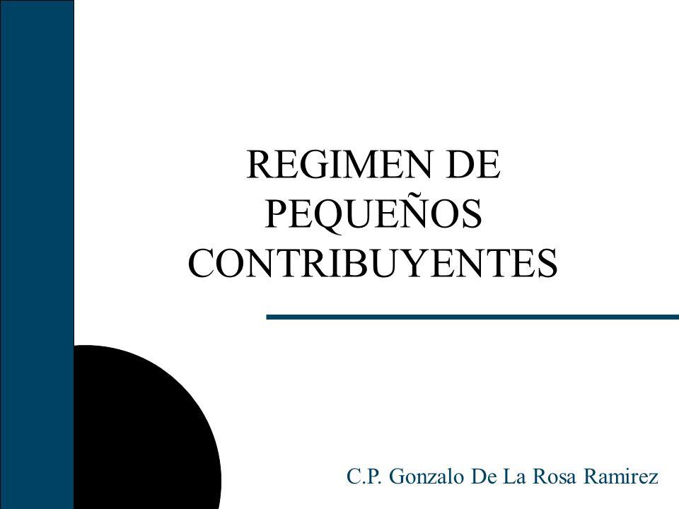 REGIMEN DE PEQUEÑOS CONTRIBUYENTES C.P. Gonzalo De La Rosa Ramirez