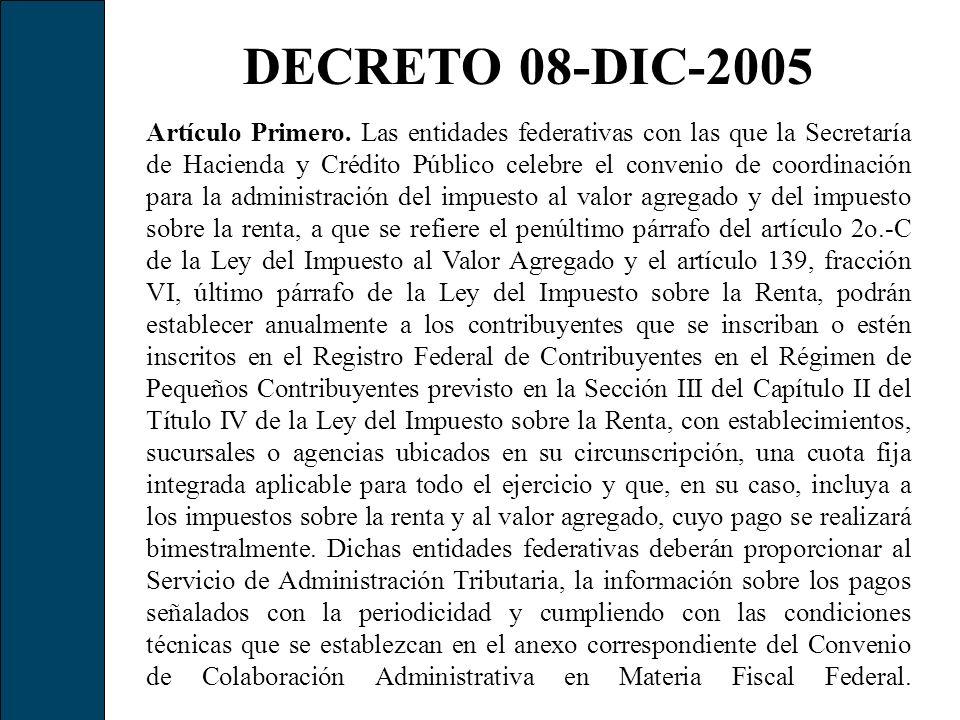 DECRETO 08-DIC-2005 Artículo Primero. Las entidades federativas con las que la Secretaría de Hacienda y Crédito Público celebre el convenio de coordin