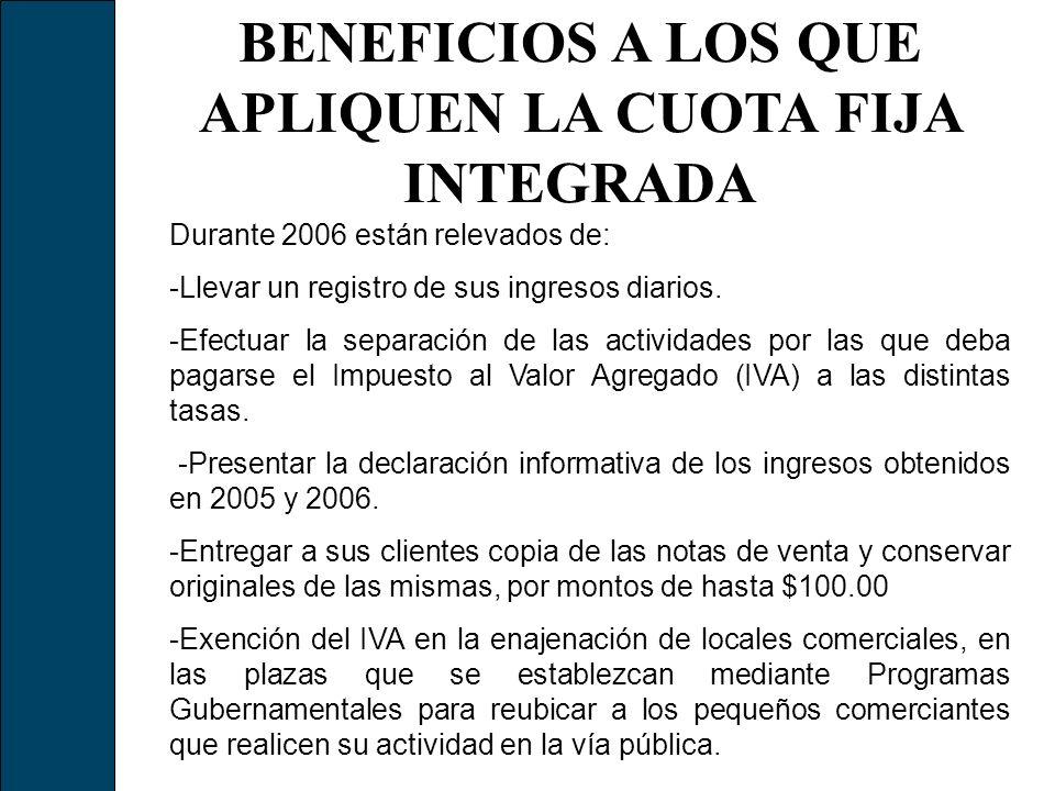 BENEFICIOS A LOS QUE APLIQUEN LA CUOTA FIJA INTEGRADA Durante 2006 están relevados de: -Llevar un registro de sus ingresos diarios. -Efectuar la separ
