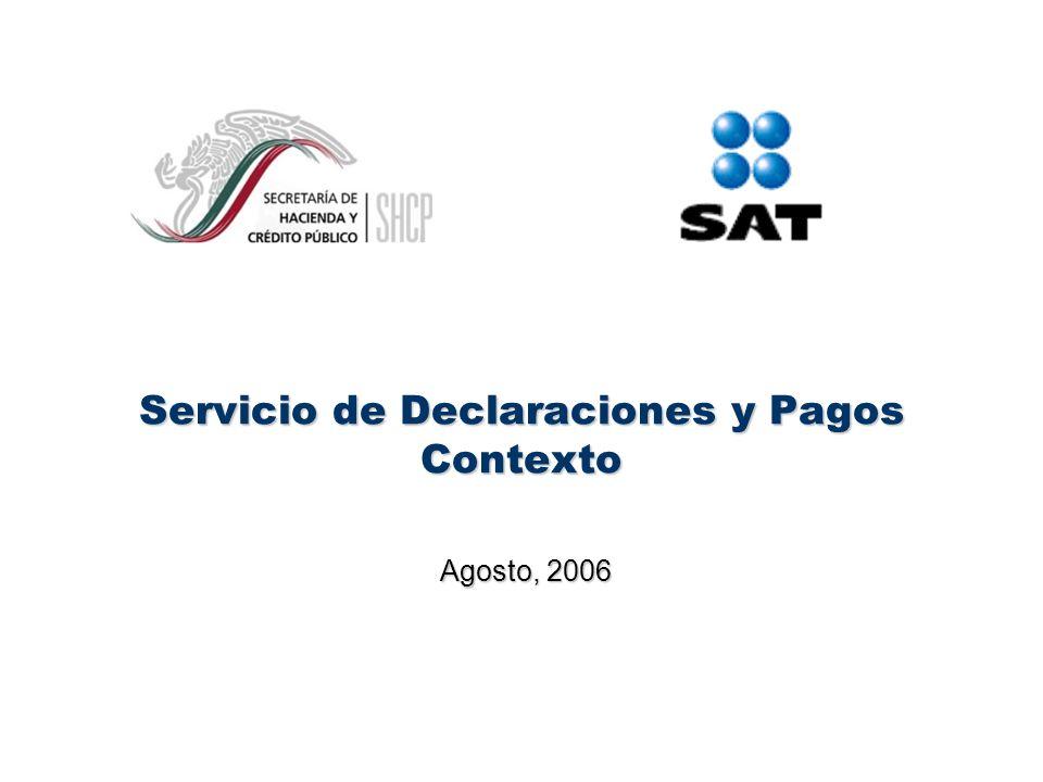 Servicio de Declaraciones y Pagos Contexto Agosto, 2006