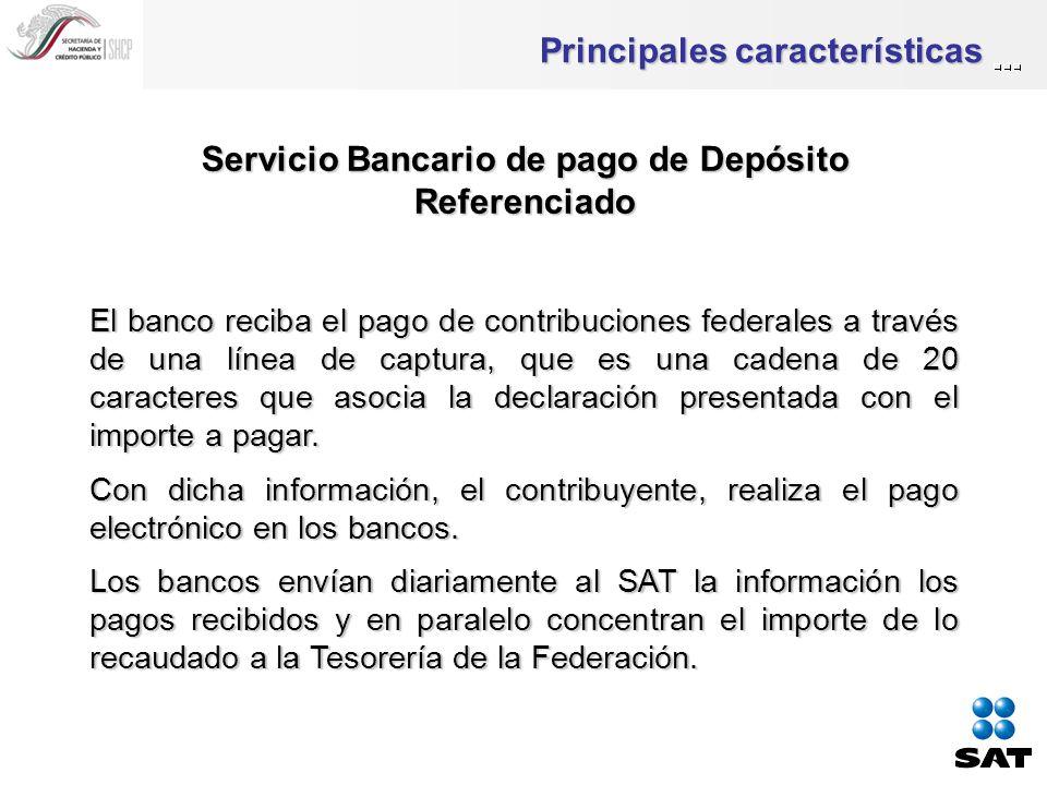 Principales características Servicio Bancario de pago de Depósito Referenciado El banco reciba el pago de contribuciones federales a través de una línea de captura, que es una cadena de 20 caracteres que asocia la declaración presentada con el importe a pagar.