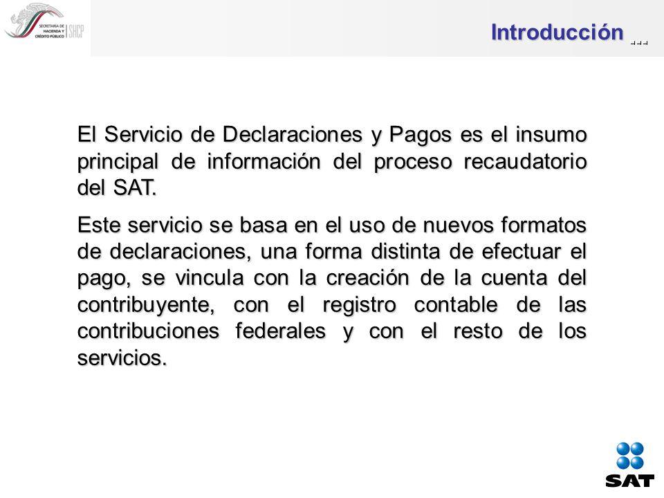 Introducción El Servicio de Declaraciones y Pagos es el insumo principal de información del proceso recaudatorio del SAT.