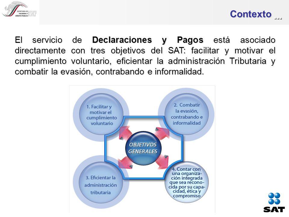Contexto El servicio de Declaraciones y Pagos está asociado directamente con tres objetivos del SAT: facilitar y motivar el cumplimiento voluntario, eficientar la administración Tributaria y combatir la evasión, contrabando e informalidad.