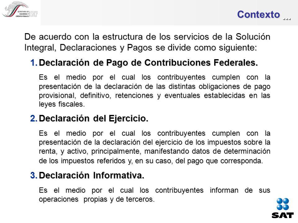 Contexto De acuerdo con la estructura de los servicios de la Solución Integral, Declaraciones y Pagos se divide como siguiente: 1.Declaración de Pago de Contribuciones Federales.