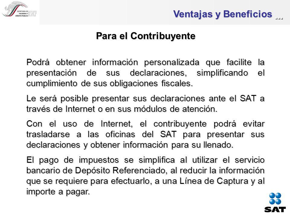 Ventajas y Beneficios Para el SAT y su personal Acceso a la información integrada del contribuyente.