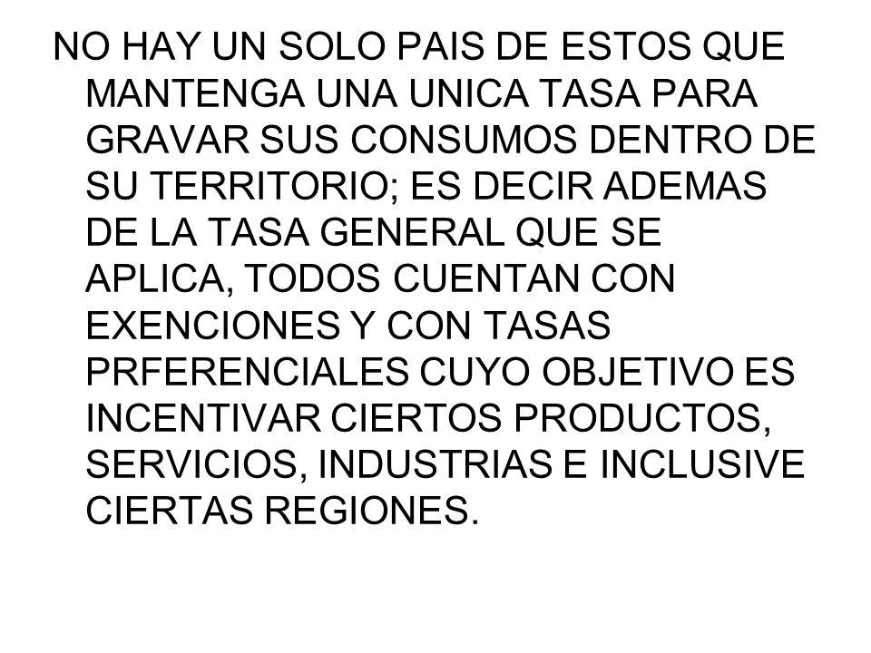 EN MEXICO SE TIENEN DIFERENTES TASAS Y DIFERENTES REGIMENES LA TASA GENERAL DEL 15% TASA DEL 10% EN REGION FRONTERIZA TASA 0% P/ INCENTIVAR EL SECTOR AGROPECUARIO, EXPORTACIONES Y ALGUNOS ARTICULOS DE CONSUMO BASICO.
