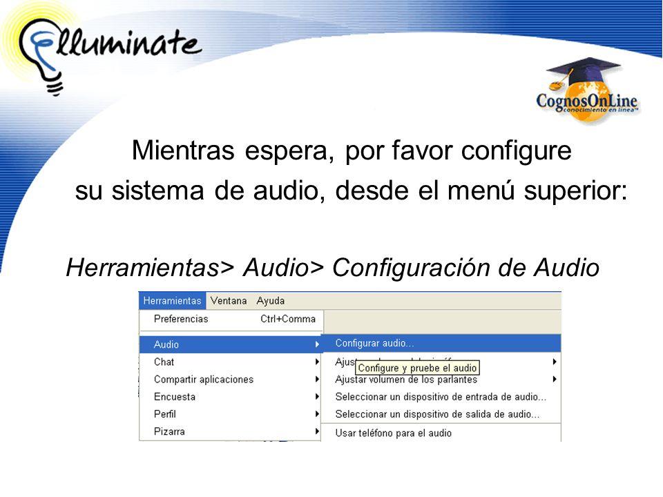 Mientras espera, por favor configure su sistema de audio, desde el menú superior: Herramientas> Audio> Configuración de Audio