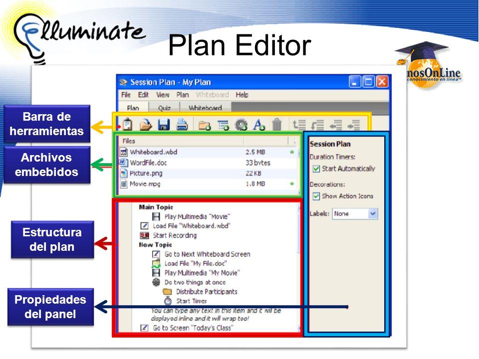 Plan Editor Barra de herramientas Archivos embebidos Estructura del plan Propiedades del panel