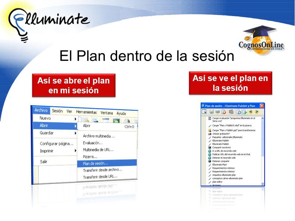 El Plan dentro de la sesión Así se ve el plan en la sesión Así se abre el plan en mi sesión