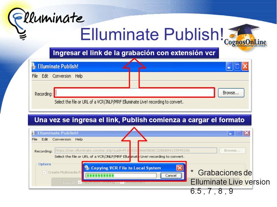 Elluminate Publish! Ingresar el link de la grabación con extensión vcr Una vez se ingresa el link, Publish comienza a cargar el formato * Grabaciones