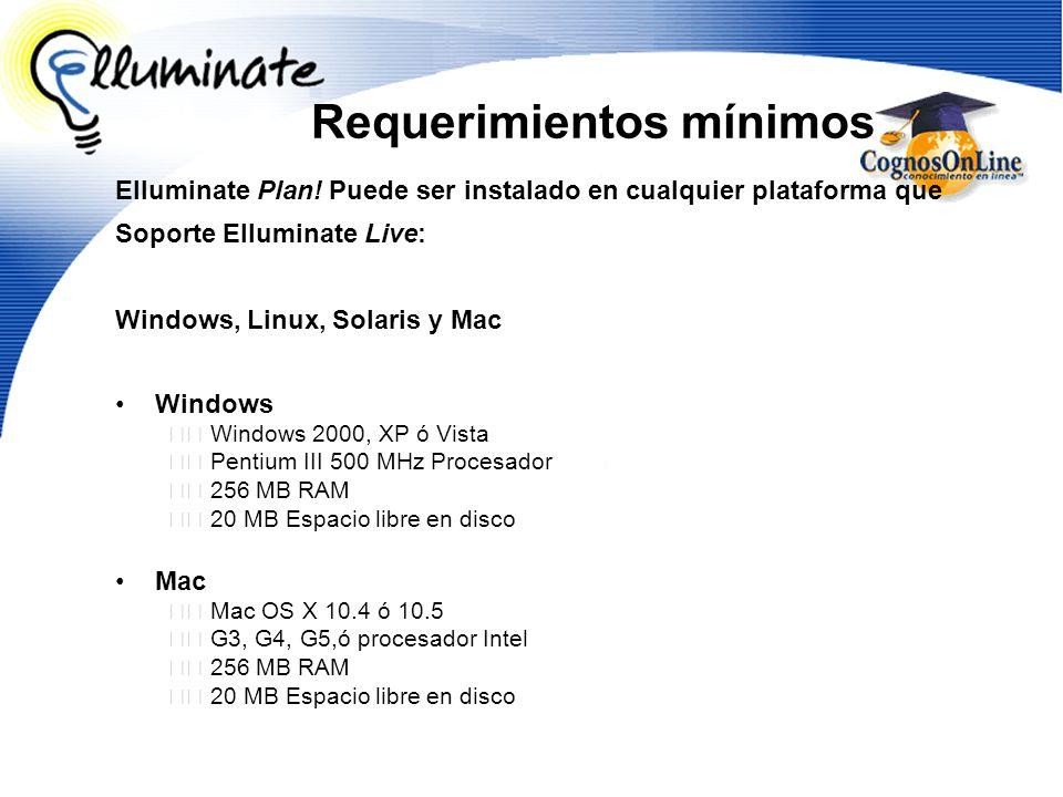 Requerimientos mínimos Elluminate Plan! Puede ser instalado en cualquier plataforma que Soporte Elluminate Live: Windows, Linux, Solaris y Mac Windows