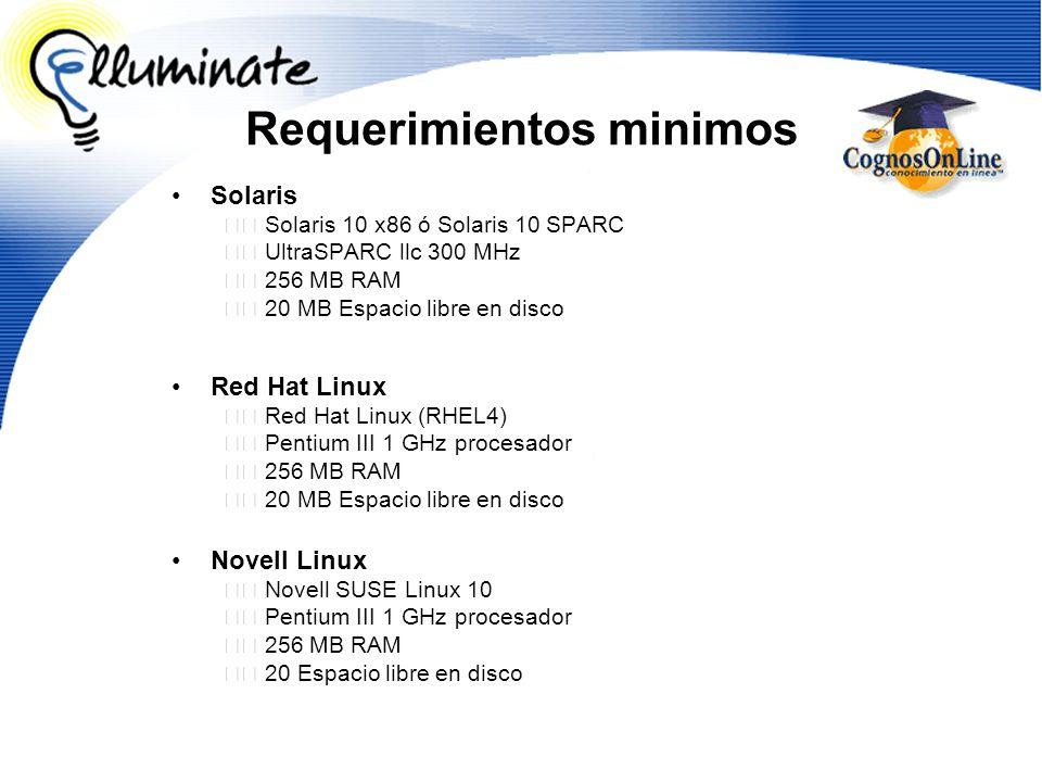 Solaris Solaris 10 x86 ó Solaris 10 SPARC UltraSPARC llc 300 MHz 256 MB RAM 20 MB Espacio libre en disco Red Hat Linux Red Hat Linux (RHEL4) Pentium I