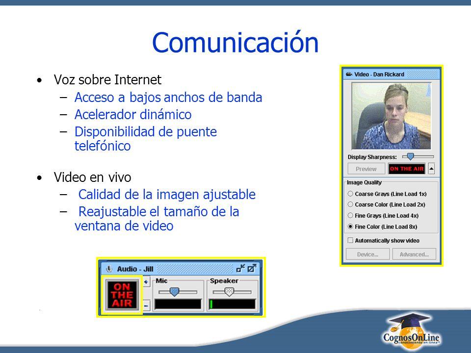 Comunicación Voz sobre Internet –Acceso a bajos anchos de banda –Acelerador dinámico –Disponibilidad de puente telefónico Video en vivo – Calidad de la imagen ajustable – Reajustable el tamaño de la ventana de video