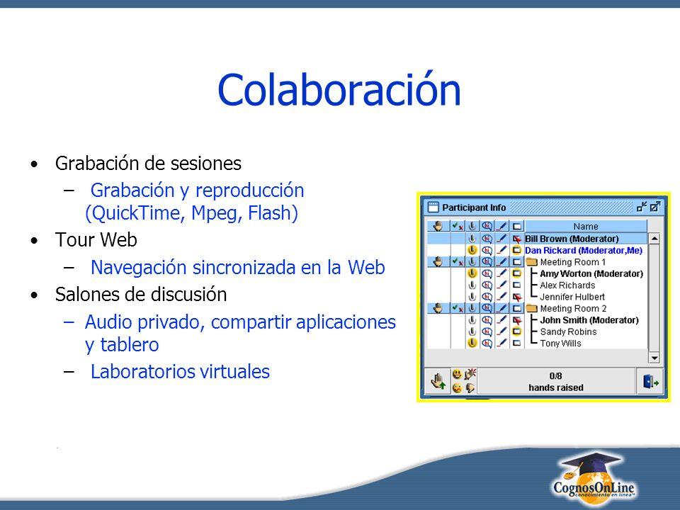 Colaboración Grabación de sesiones – Grabación y reproducción (QuickTime, Mpeg, Flash) Tour Web – Navegación sincronizada en la Web Salones de discusión –Audio privado, compartir aplicaciones y tablero – Laboratorios virtuales