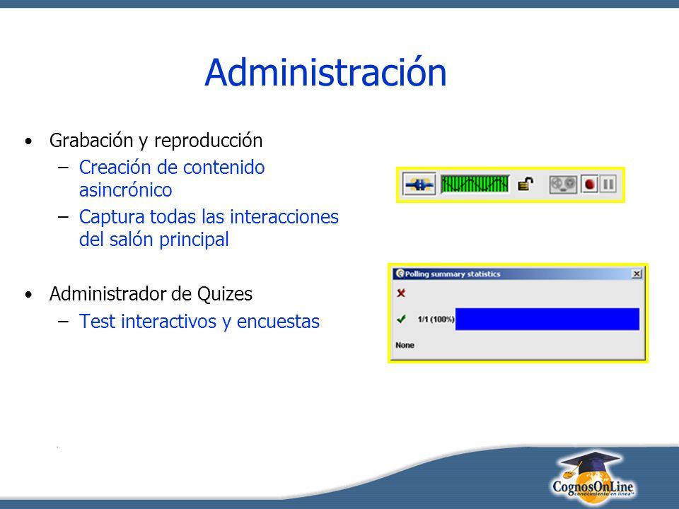 Administración Grabación y reproducción –Creación de contenido asincrónico –Captura todas las interacciones del salón principal Administrador de Quizes –Test interactivos y encuestas