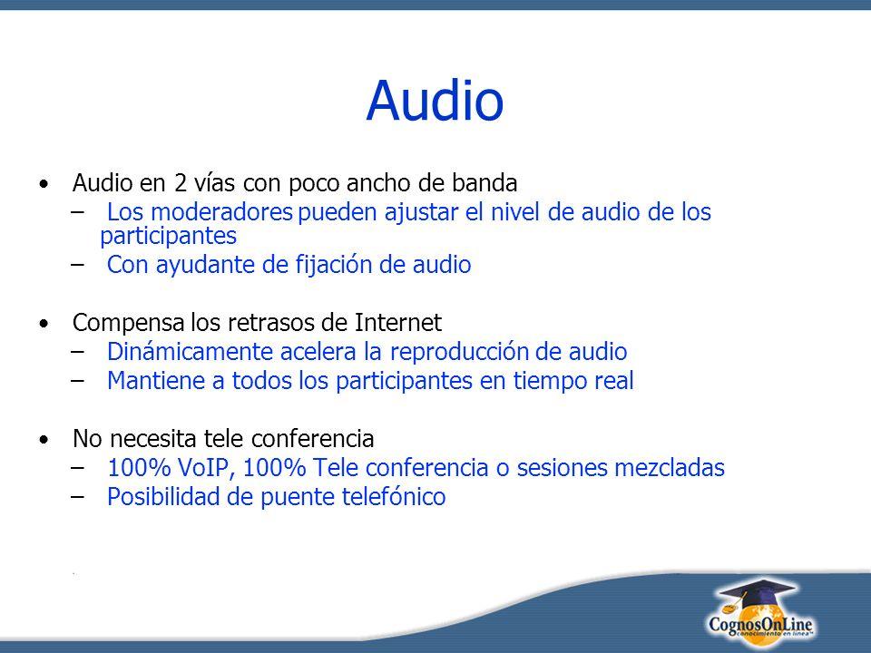 Audio Audio en 2 vías con poco ancho de banda – Los moderadores pueden ajustar el nivel de audio de los participantes – Con ayudante de fijación de audio Compensa los retrasos de Internet – Dinámicamente acelera la reproducción de audio – Mantiene a todos los participantes en tiempo real No necesita tele conferencia – 100% VoIP, 100% Tele conferencia o sesiones mezcladas – Posibilidad de puente telefónico
