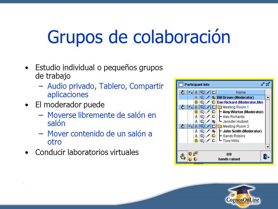 Grupos de colaboración Estudio individual o pequeños grupos de trabajo –Audio privado, Tablero, Compartir aplicaciones El moderador puede –Moverse libremente de salón en salón –Mover contenido de un salón a otro Conducir laboratorios virtuales