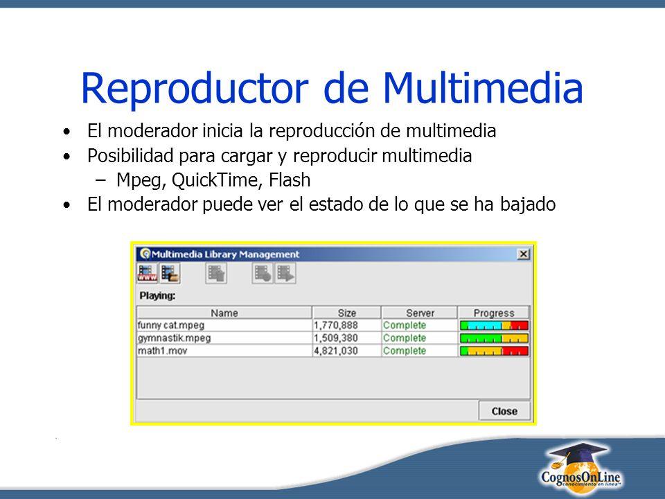 Reproductor de Multimedia El moderador inicia la reproducción de multimedia Posibilidad para cargar y reproducir multimedia –Mpeg, QuickTime, Flash El moderador puede ver el estado de lo que se ha bajado
