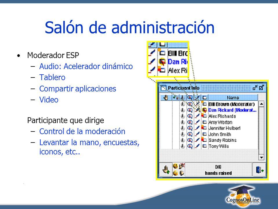 Salón de administración Moderador ESP –Audio: Acelerador dinámico –Tablero –Compartir aplicaciones –Video Participante que dirige –Control de la moderación –Levantar la mano, encuestas, iconos, etc..