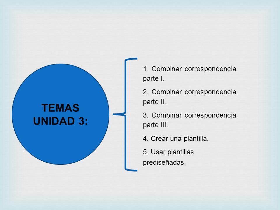 TEMAS UNIDAD 3: 1. Combinar correspondencia parte I. 2. Combinar correspondencia parte II. 3. Combinar correspondencia parte III. 4. Crear una plantil
