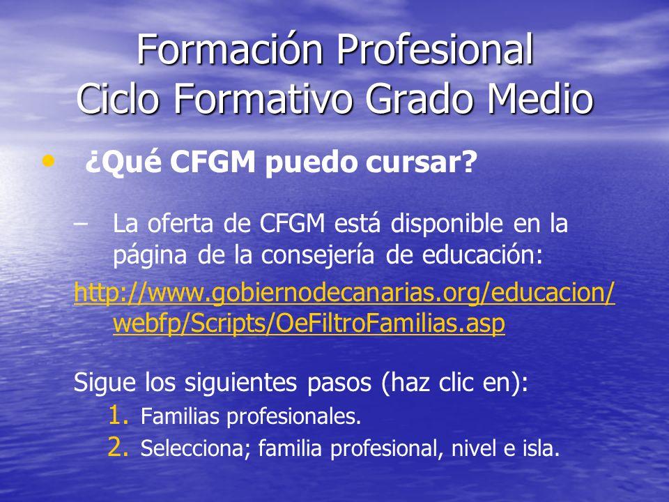 Formación Profesional Ciclo Formativo Grado Medio ¿Qué CFGM puedo cursar? – –La oferta de CFGM está disponible en la página de la consejería de educac