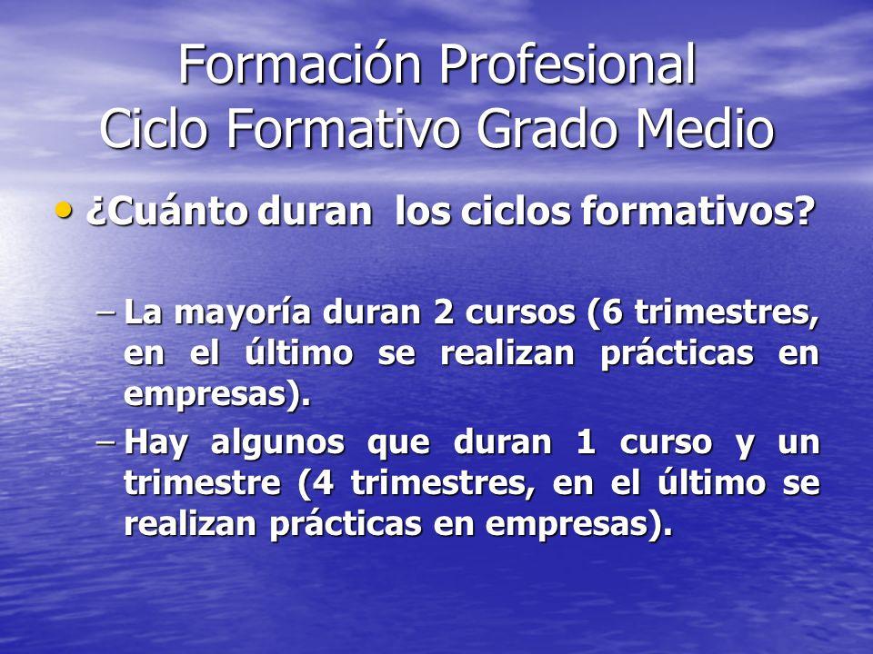 Formación Profesional Ciclo Formativo Grado Medio ¿Cuánto duran los ciclos formativos? ¿Cuánto duran los ciclos formativos? –La mayoría duran 2 cursos