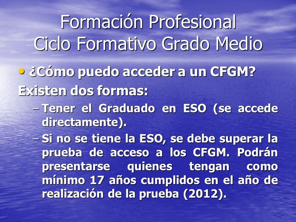Formación Profesional Ciclo Formativo Grado Medio ¿Cómo puedo acceder a un CFGM? ¿Cómo puedo acceder a un CFGM? Existen dos formas: –Tener el Graduado