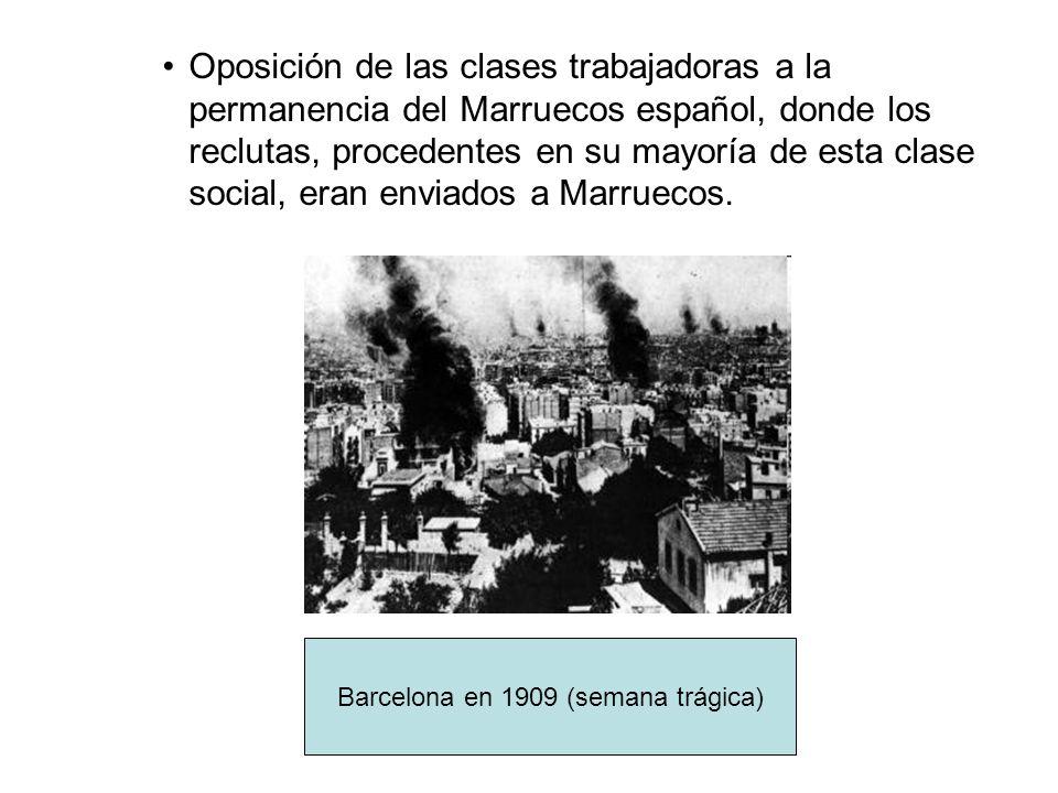 Oposición de las clases trabajadoras a la permanencia del Marruecos español, donde los reclutas, procedentes en su mayoría de esta clase social, eran