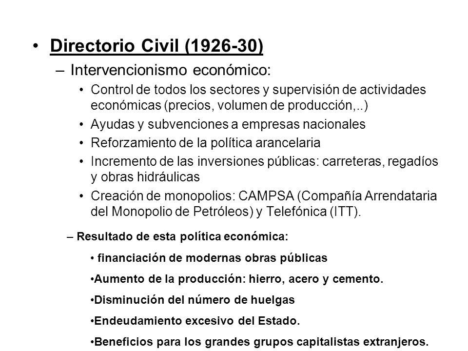 Directorio Civil (1926-30) –Intervencionismo económico: Control de todos los sectores y supervisión de actividades económicas (precios, volumen de pro