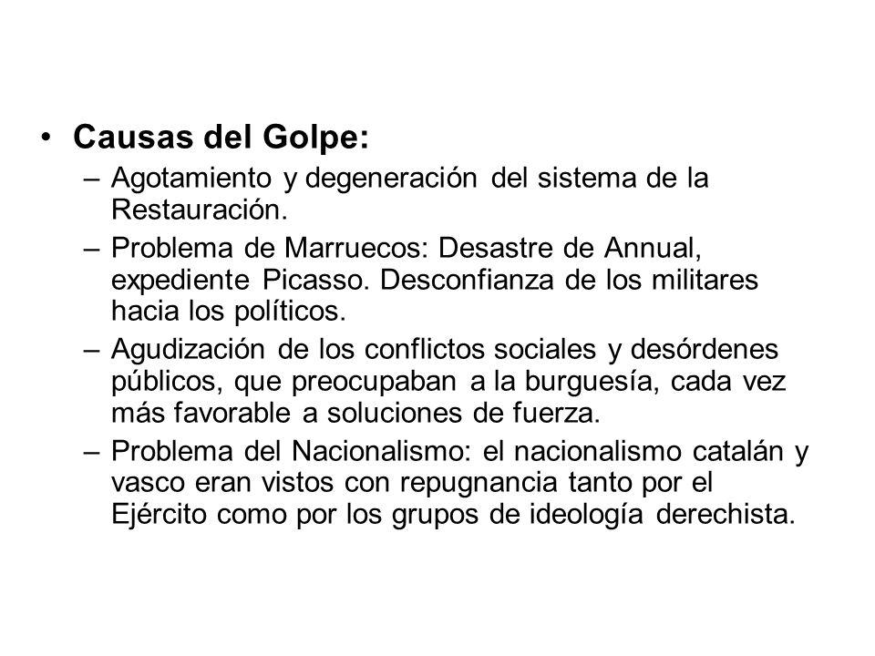 Causas del Golpe: –Agotamiento y degeneración del sistema de la Restauración. –Problema de Marruecos: Desastre de Annual, expediente Picasso. Desconfi
