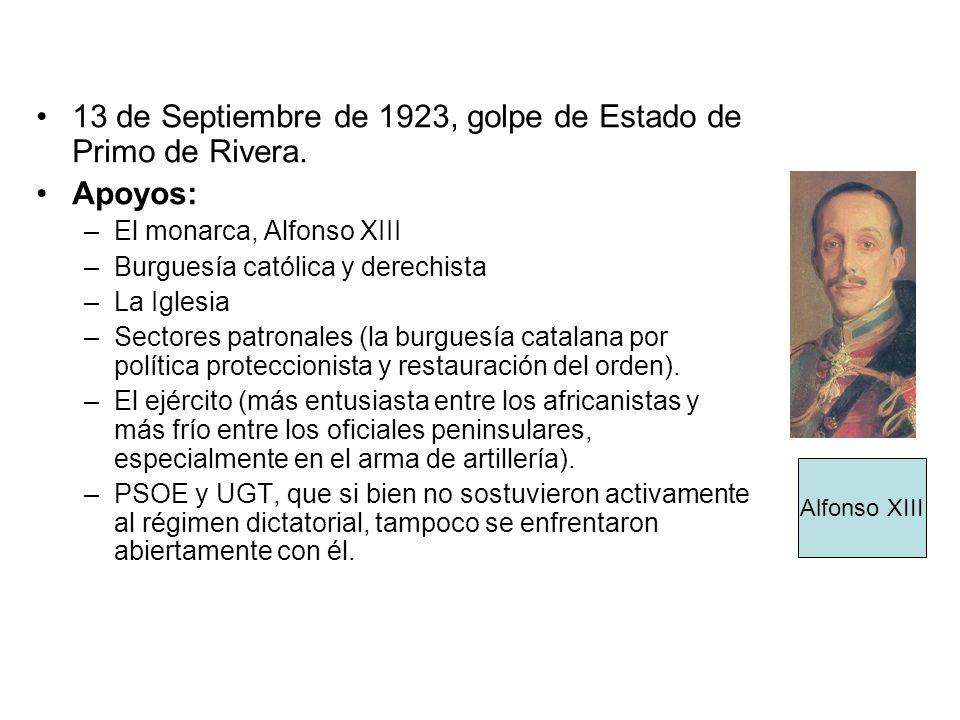 13 de Septiembre de 1923, golpe de Estado de Primo de Rivera. Apoyos: –El monarca, Alfonso XIII –Burguesía católica y derechista –La Iglesia –Sectores