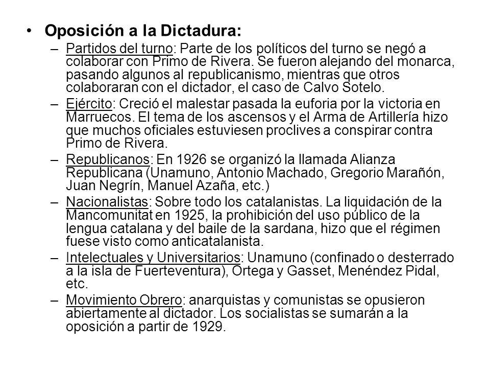 Oposición a la Dictadura: –Partidos del turno: Parte de los políticos del turno se negó a colaborar con Primo de Rivera. Se fueron alejando del monarc
