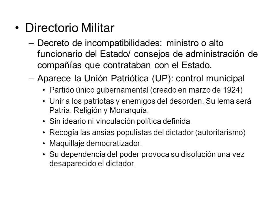 –Decreto de incompatibilidades: ministro o alto funcionario del Estado/ consejos de administración de compañías que contrataban con el Estado. –Aparec