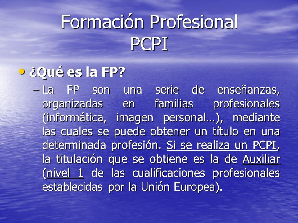 Formación Profesional PCPI ¿Qué es la FP? ¿Qué es la FP? –La FP son una serie de enseñanzas, organizadas en familias profesionales (informática, image