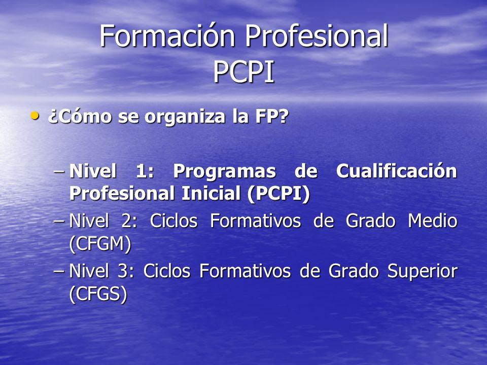 Formación Profesional PCPI ¿Cómo se organiza la FP? ¿Cómo se organiza la FP? –Nivel 1: Programas de Cualificación Profesional Inicial (PCPI) –Nivel 2: